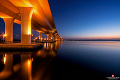 Florida Life: Under The Bridge (Thncher Photography) Tags: longexposure bridge sky clouds sunrise reflections landscape florida sony scenic stuart tropical fullframe fx intracoastal waterscape martincounty rooseveltbridge stlucieriver southeastflorida zeissfe1635mmf4zaoss a7r2 ilce7rm2 sonya7r2