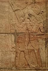 Closeup of Taharqa embracing Horus on the Shrine of the 25th dynasty pharaoh and Kushite King Taharqa  Egypt 7th century BCE (mharrsch) Tags: architecture temple worship shrine god unitedkingdom religion egypt oxford 7thcenturybce horus myth deity basrelief ashmoleanmuseum taharqa lateperiod 25thdynasty mharrsch
