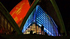 Framed (Andy Burton Oz) Tags: blue red abstract color colour building silhouette sydney australia circularquay nsw newsouthwales sydneyharbour sydneyoperahouse builtenvironment sydneycove 2016 bennelongpoint portjackson laserlight andyburton warrane afsdxvrzoomnikkor1855mmf3556g aperture36 vividsydney nikond7000 festivaloflightandsound flickrexport412