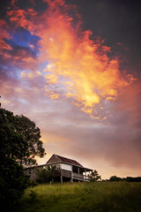 Fire in the Sky (Matthew Post) Tags: sunset cloud house farmhouse post matthew glastonbury australia abandonedhouse queensland dilapidated queenslander gympie matthewpost