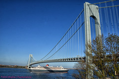 Queen Mary 2 under the Verrazano bridge (Phyllis Featherstone) Tags: newyorkcity worldtradecenter statenisland qm2 queenmary2 reallyrightstuff nikond3200 newyorkharbor fortwadsworth ftwadsworth phyllisfeatherstone reallyrightstuffhead queenmaryvz050313 sigma18250macrolens