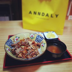 shopping and dinner =) - eel with onion and rice (hellaOAKLAND) Tags: