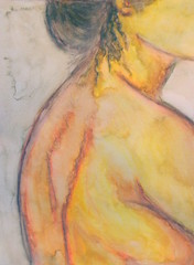 Jellyfish Head (Morganthorn) Tags: woman pencil watercolor hair nude sketch back jellyfish image crayon impressionist partial renoir