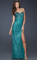 Stunning Peacock Jewels Sexy Sweetheart High Slit Gown By La Femme 17526 (adeline73) Tags: promdresses bluedress partydresses homecomingdresses