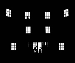 Let Me Go Home (floralgal) Tags: family windows blackandwhite house abstract love home night evening darkness silhoutte frontdoor ryenewyork homeabstract