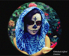 Day of the Dead (Michaela Efford Art Creations) Tags: flowers blue selfportrait girl photoshop dayofthedead religion fisheye mexican deepblue retrolook 365project redmatrix flickrunitedaward vintageappearance usingagirlmodel michaelaeffordcreations