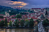 Prague (Vagelis Pikoulas) Tags: old city bridge blue autumn trees houses light sunset sky sun house mountain mountains colour reflection tree green tower clouds canon river landscape eos town kiss europe day niceshot view prague cloudy central charles praha september most 1855mm x4 karluv 2013 550d abigfave colorphotoaward mygearandme mygearandmepremium mygearandmebronze mygearandmegold mygearandmeplatinum musictomyeyeslevel1