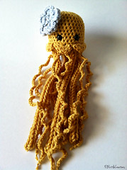 Shy Little JellyFish (EBLittleCreations) Tags: ocean sea fish beach animal toy golden jellyfish handmade nursery crochet plush amigurumi decor vision:food=052