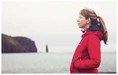 Mari-Clare, Sandwood Bay (Gordon_Farquhar) Tags: beach water alan bay boat am rocks looking mc jacket thinking mitchell sutherland gazing buachaille pondering mariclare sandwood