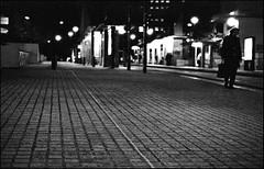 Loneliness (abdelkrim13) Tags: street blackandwhite bw night 35mm solitude loneliness noiretblanc kodak pavement nb streetphoto 135 rue nuit nantes 400iso urbain pavs trix400 leicam4 d76maison 12dcembre2013