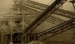 gravier (Mouhèb) Tags: plant ford industry rock metal stone sepia work grit factory break tunisia stones tunis down taylor pierres job hardwork usine tunisie manufactory decompose gravier grittiness decomposer taylorisme