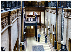 Colleen and Michelle in the Lobby of the Bradbury Building - LA (swanksalot) Tags: detail 35mm buildings losangeles bladerunner interior colleen buildingdetail michelle architectural bradburybuilding murphy
