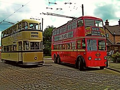 [Explored] Tram vs Trolley Bus (pnb511) Tags: red heritage suffolk traction tram trains historic preserved trams hdr doubledecker trolleybus electirc paintnet eastangliatransportmuseum