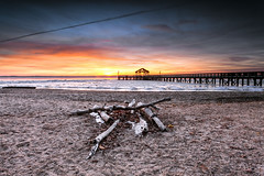 we didn't start the fire.... (dK.i photography) Tags: winter ice sunrise river landscape dawn virginia pier filter potomac firepit woodbridge leesylvania beachdriftwood neutraldensity singhray darylbenson rgnd
