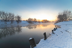 Winter  River Sunrise (Petr Vorobyev) Tags: winter light water sunrise canon river landscape eos canoneos5dmarkii canonwinter blinkagain bestofblinkwinners blinksuperstars