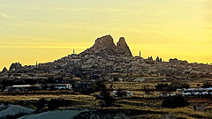 Goreme in the afterglow (eucharisto deo) Tags: sunset chimney home fairy cave anatolia afterglow goreme dwelling 5photosaday awesomeafterglow cappoddocia
