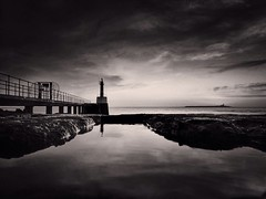 Black and White Sunrise (Amble180) Tags: cameraphone island noir amble coquet amblepier wildaboutnorthumberland iphone5s