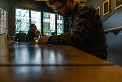ever feel you just have to tune out the world and write? vancouver-v1-10mm-20140317-DSC_7720.jpg (roland) Tags: coffee vancouver writing cafe focus archive rolandtanglaophoto pascal gastown inthezone revolvercafe nikon10mm revolvercoffee nikonv1 nikonv1photo archivebyrevolver