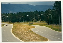 General view of Isabella Drive showing cycleway environment in pine plantation adjacent to the road. c1989 (ArchivesACT) Tags: canberra chisholm bikepaths cyclepaths fadden faddenpines