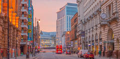 Oxford Street at dusk (iammattdoran) Tags: city bus architecture buildings warm dusk colourful oxfordstreet softlight centrallibrary onestpeterssquare stjamesbuildings