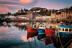 Oban (artjom83) Tags: uk greatbritain travel blue sunset red sea sky cloud water canon mirror scotland boat town seaside europe unitedkingdom harbour roadtrip traveller backpacking gb oban 2014 24105 argyllandbute canon6d grosbritannienundnordirland