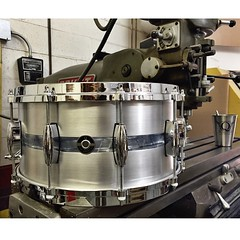 "7X14 Brushed Aluminum with a 1"" Sky Blue Pearl inlay. This thing sounds incredible! Make your way to @soundattakdrumco to check it out! #qdrumco #aluminum #snare #drum #soundattakUK"