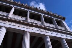 Stoa of Attalos (quiggyt4) Tags: city church architecture religious greek temple ancient cityscape view euro columns delphi athens hephaestus parthenon greece observatory alexander acropolis athena orthodox poseidon hadrian agora apostles doric ionic attica erechtheion dionysus ronpaul lykavitos ancientagora ows propylaea romanagora occupy templeofhephaestus tsipras occupywallstreet grexit
