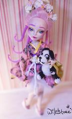 Viperine Gorgon OOAK (willka_ann) Tags: pink blue monster japan high doll dolls dragon purple ooak geisha custom mh mattel gorgon faceup viperine monsterhigh monstergigh jinafire