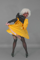 yellow sissy10 (queerina) Tags: camp drag tv crossdressing queen fairy e sissy poofter transvestite frock dragqueen queer diva crossdresser fag pvc poof flamer effeminate heavymakeup limpwristed transvestism xdresser effeminacy