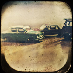 green car (jssteak) Tags: car lensbaby canon vintage square toy small boxbrownie t1i