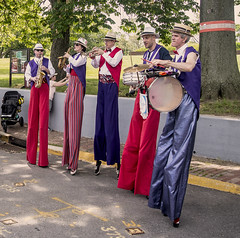 Shinbone Alley Stilt Band Welcoming All To Governors Island 2016 (nrhodesphotos(the_eye_of_the_moment)) Tags: dsc05106300 theeyeofthemoment21gmailcom wwwflickrcomphotostheeyeofthemoment shinbonealleystiltband welcomeband governorsislandnyc still musicians drums horns fun metal perspective sax trumpet trees outdoor entertainment candid