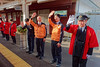 Staff in special jackets wave off the special DMU at Wakura-Onsen Station DSC02886 JR Special train (Recliner) Tags: japan specialtrains