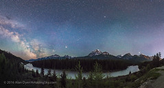 Panorama of Morant's Curve by Night (Amazing Sky Photography) Tags: panorama mars night stars twilight railway sagittarius nightsky saturn jupiter lakelouise cpr bowriver banffnationalpark milkyway ptgui mttemple airglow ipano morantscurve