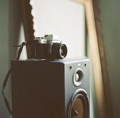 . (Ansel Olson) Tags: camera light bw 120 6x6 mamiya tlr film mediumformat pentax k1000 kodak loudspeaker 400 speaker portra c330 sekor 80mmf28 c330s