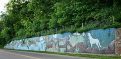 River Street Mural (Ryan Ojibway) Tags: wisconsin mural wi riverstreet retainingwall chippewafalls business29