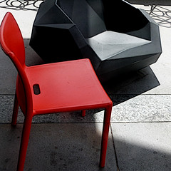 outdoor seating (msdonnalee) Tags: shadow chair sombra ombre sombre silla chaise stuhl orangechair plasticchairs blackchair