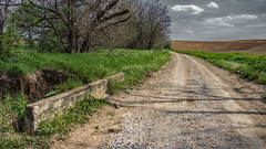 White Cemetery Road at Clary Creek (myoldpostcards) Tags: road rural season landscape illinois spring country il rd whitecemetery centralillinois menardcounty myoldpostcards vonliski clarycreek