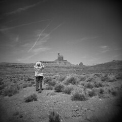 Valley of the Gods #1 (LowerDarnley) Tags: southwest hat utah holga butte tourist erosion photograph wilderness mexicanhat valleyofthegods