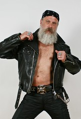 Silver an Leather (Cowboy Tommy) Tags: shirtless portrait hairy black sexy leather fashion sex beard chains belt manly rings jacket biker redneck bandana buckle rugged lanky studiophotography facefur