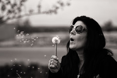 Wishes (Metro Tiff) Tags: flowers wild woman nature girl monochrome outdoors spring weeds seeds wishes dandelions