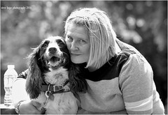 Sharon with Billy (SteveH1972) Tags: park england blackandwhite bw monochrome europe britain billy humberbridge eastyorkshire 2016 northernengland hessle canonef70200mmf28lusm canon600d humberbridgeviewingpark