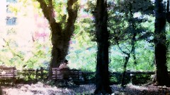 Far away (Bamboo Barnes - Artist.Com) Tags: park pink blue windows light shadow red orange brown man building tree green yellow bench painting tokyo photo woods ground bamboobarnes