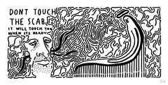 Don't Touch The Scab (Krillinator) Tags: white black detail art face lines illustration pen handwriting photoshop work sketch different hand message image personal drawing unique background text ghost surreal style wiggly scan line size story busy scanned characters illustrator freehand concept written spaghetti drawn worms dots piece gesture outlines shape depth narrative edit bold loose portrayal