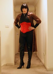 Inadvertent Unveiling (5) (Furre Ausse) Tags: red black leather shirt bronze opera long dress boots gloves corset satin catsuit
