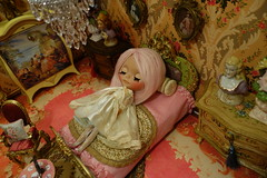 A very sleepy princess... (Primrose Princess) Tags: pink paris france castle french doll princess queen chandelier fancy boudoir blythe frenchstyle marieantoinette blythedoll customblythedoll helloblythedoll besthubbyever pinkalpacareroot viintagedollclothes