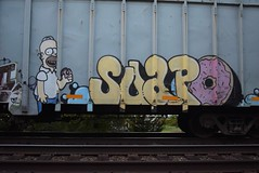 SOAPO (TheGraffitiHunters) Tags: street pink blue white black art car yellow dumpster train graffiti colorful paint tracks simpsons spray homer simpson freight benched benching soapo