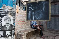 Varanasi, 2014 (Boris Hamilton) Tags: street india face sign poster head moustache hidden varanasi