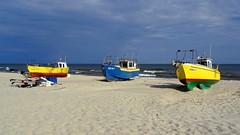 Fishing boats (radimersky) Tags: camera sea beach water landscape boats fishing sand colorful europa europe day outdoor sony poland polska cybershot baltic shore dzie woda compact widok krynica morska morze batyk plaa kolorowe pomorze brzeg piasek krajobraz odzie pomorskie batyckie wybrzee rybackie mierzeja wilana dschx60