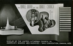 Display Of United Lutheran Church, 1940 Convention, Omaha, Nebraska (SwellMap) Tags: architecture vintage advertising design pc 60s fifties postcard suburbia style kitsch retro nostalgia chrome americana 50s roadside googie populuxe sixties babyboomer consumer coldwar midcentury spaceage atomicage