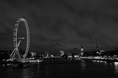 same old song (sixthofdecember) Tags: city greatbritain travel england urban blackandwhite bw london water thames night clouds river dark outside outdoors lights evening nikon cityscape darkness nightshot cloudy unitedkingdom sightseeing housesofparliament overcast londoneye bigben tamron sights tamron18270 nikond5100